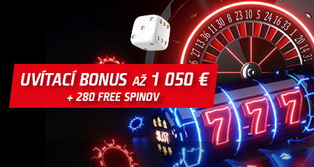 Uvítací bonus 1050€ a 280 free spinov
