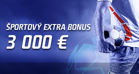 Športový extra bonus 3 000 €